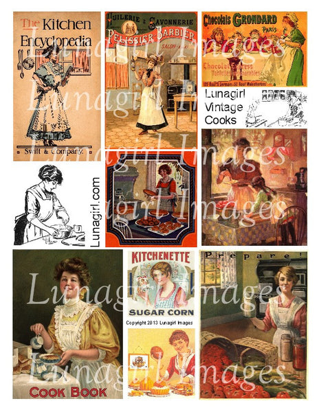 Vintage Cooks Digital Collage Sheet - Lunagirl