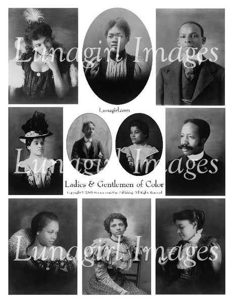 Ladies & Gentlemen of Color Digital Collage Sheet - Lunagirl