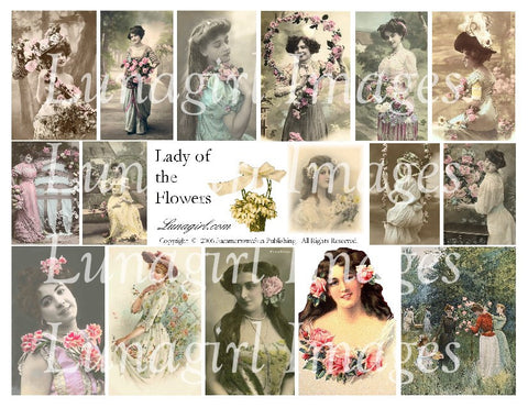 Lady of the Flowers Digital Collage Sheet - Lunagirl