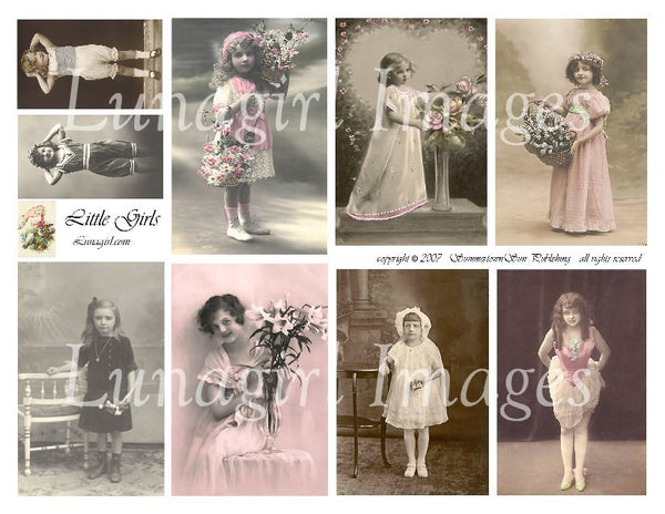 Little Girls Digital Collage Sheet - Lunagirl