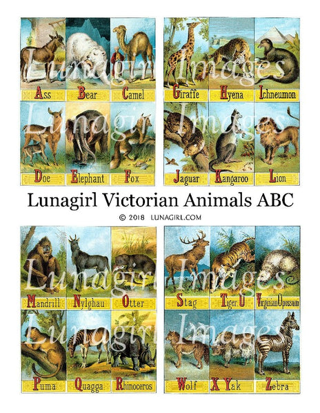Victorian Animals ABC Digital Collage Sheet - Lunagirl