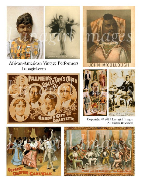 African American Vintage Performers Digital Collage Sheet - Lunagirl
