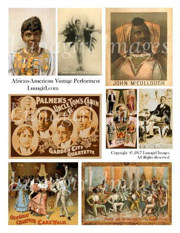 African American Vintage Performers Digital Collage Sheet