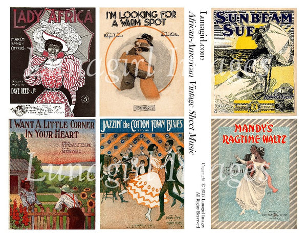 African American Vintage Sheet Music Digital Collage Sheet