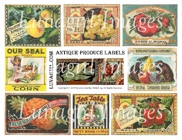 Antique Produce Labels Digital Collage Sheet - Lunagirl
