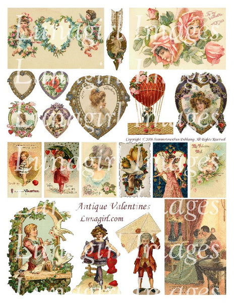 Antique Valentines Digital Collage Sheet - Lunagirl