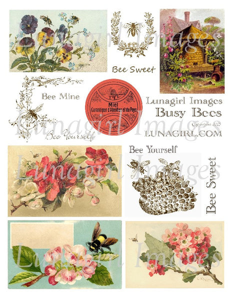 Busy Bees Digital Collage Sheet - Lunagirl
