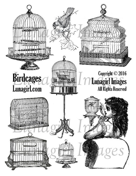 Birdcages Digital Collage Sheet - Lunagirl