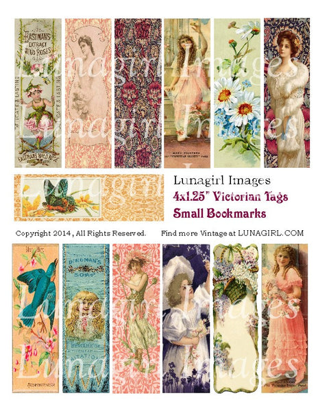 Victorian Tags / Small Bookmarks Digital Collage Sheet - Lunagirl