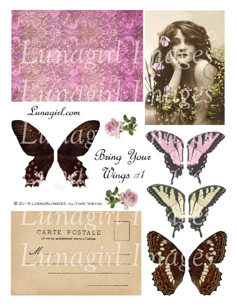 Bring Your Wings Pink Digital Collage Sheet