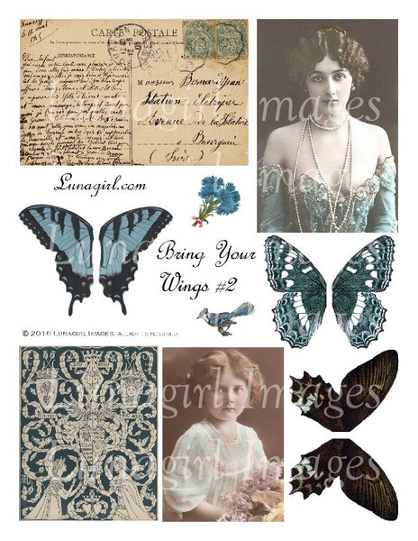 Bring Your Wings Blue Digital Collage Sheet - Lunagirl