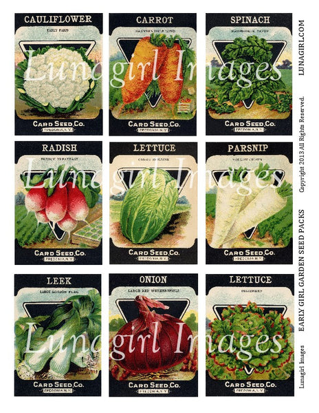 Early Girl Garden Seed Packs Digital Collage Sheet - Lunagirl