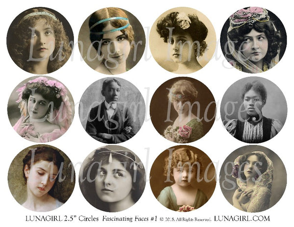 "Vintage Photos FACES 2.5"" Circles Digital Collage Sheet"