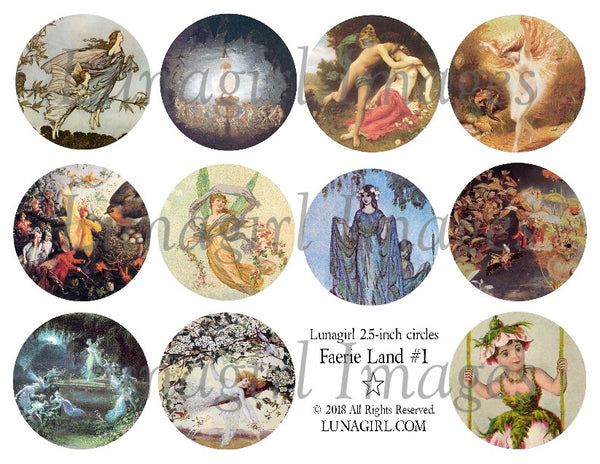 "Faerie Land #1 vintage fairies 2.5"" Circles Digital Collage Sheet"