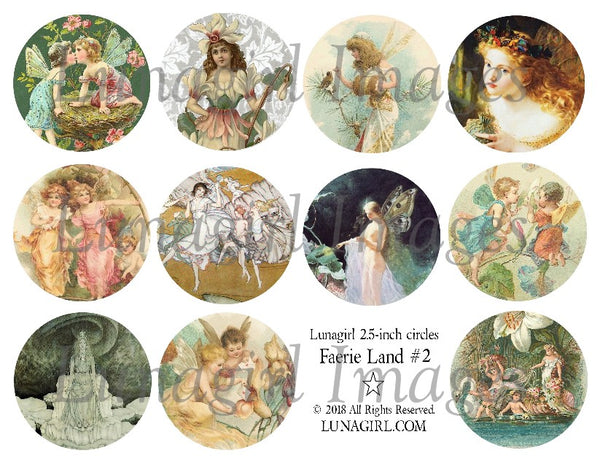 "Faerie Land #2 vintage fairies 2.5"" Circles Digital Collage Sheet"