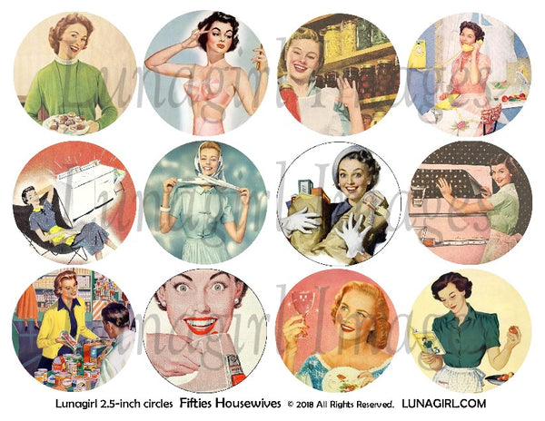 "1950s Housewives 2.5"" Circles Digital Collage Sheet"