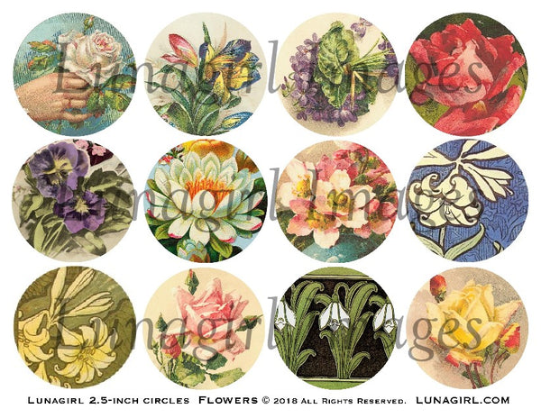 "Vintage Flowers 2.5"" Circles Digital Collage Sheet"