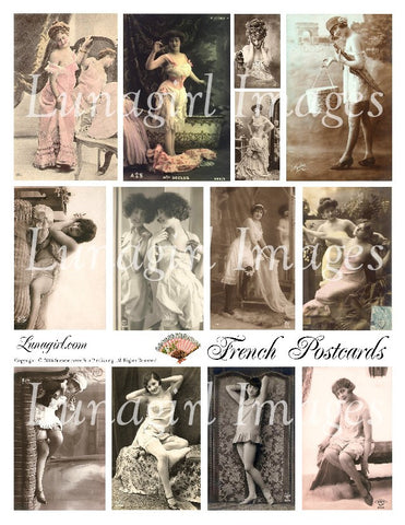 French Postcards Digital Collage Sheet - Lunagirl