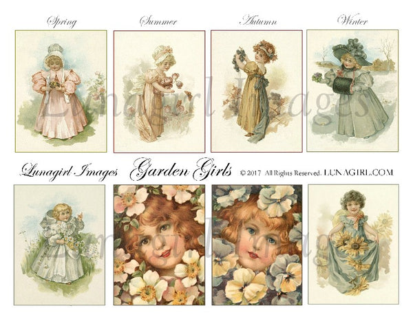 Garden Girls Digital Collage Sheet