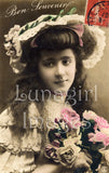 digital vintage image photo postcard victorian girl in hat with flowers French stamp