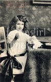 digital image vintage photo postcard little girl victorian edwardian antique
