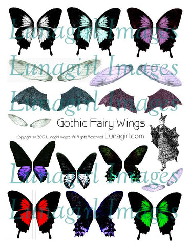 Gothic Fairy Wings Digital Collage Sheet - Lunagirl