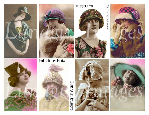 Flappers in Fabulous Hats Digital Collage Sheet - Lunagirl