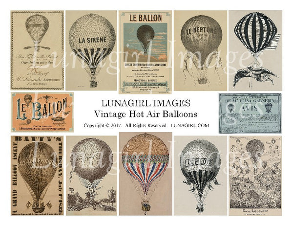 Vintage Hot Air Balloons Digital Collage Sheet