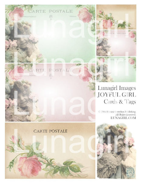 Joyful Girl Postcards Digital Collage Sheet - Lunagirl