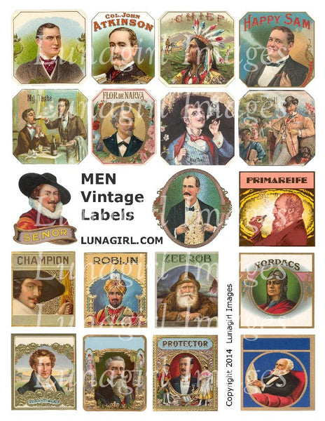 Men Vintage Labels Digital Collage Sheet - Lunagirl