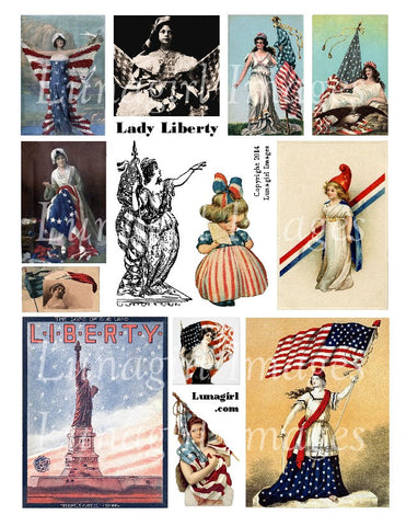 Lady Liberty Digital Collage Sheet - Lunagirl