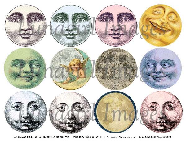 "Vintage Moon 2.5"" Circles Digital Collage Sheet - Lunagirl"