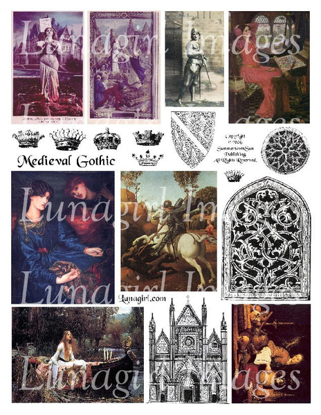 Medieval Gothic Digital Collage Sheet - Lunagirl
