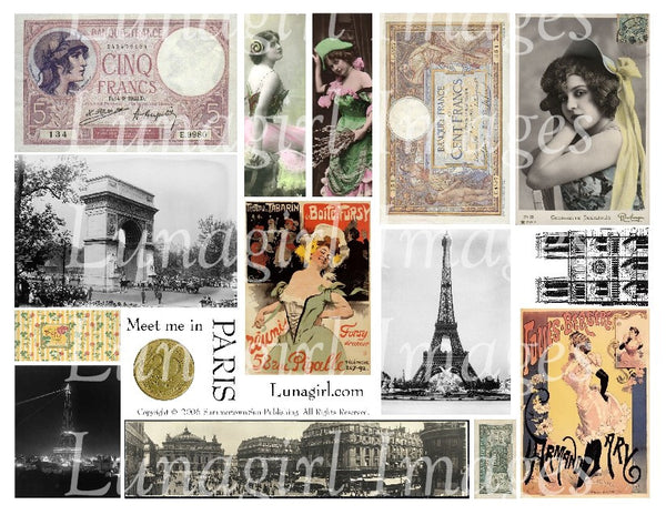 Meet Me in Paris Digital Collage Sheet - Lunagirl