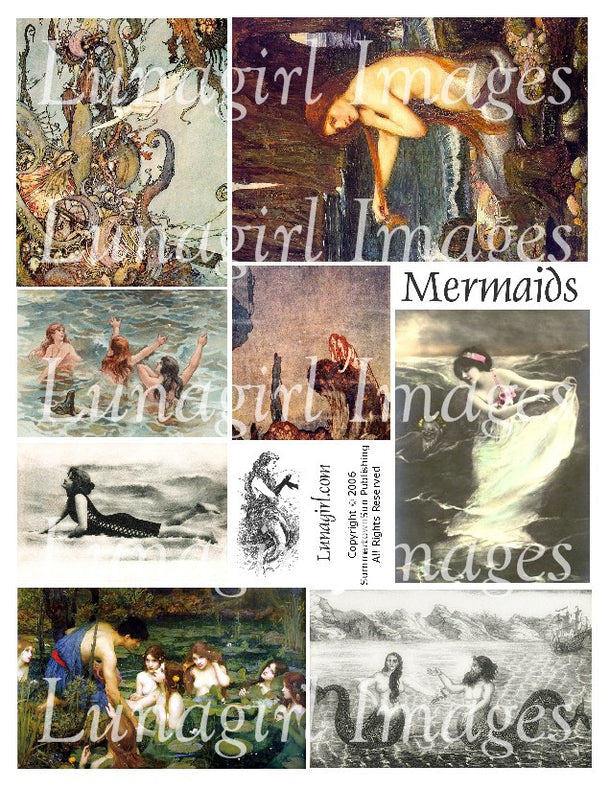 Digital Collage Sheets: Mermaids Ocean Seashells