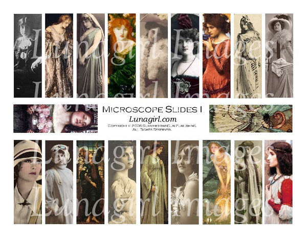 "Microscope Slides #1 : 1x3"" Pendants Digital Collage Sheet - Lunagirl"