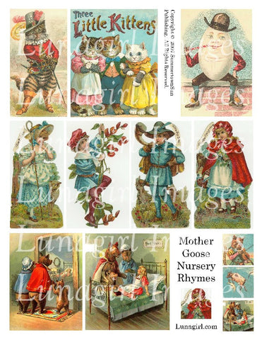 Mother Goose Nursery Rhymes Digital Collage Sheet - Lunagirl