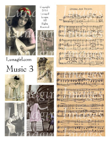 Music 3: By the Light Digital Collage Sheet - Lunagirl