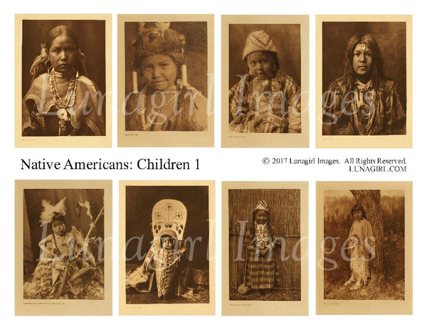 Native Americans: Children #1 Digital Collage Sheet - Lunagirl