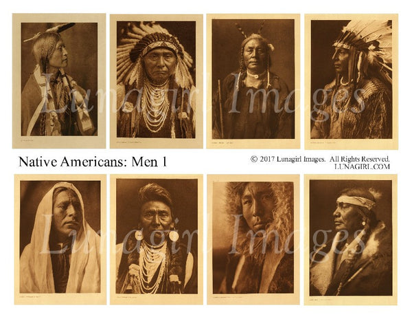 Native Americans: Men #1 Digital Collage Sheet - Lunagirl