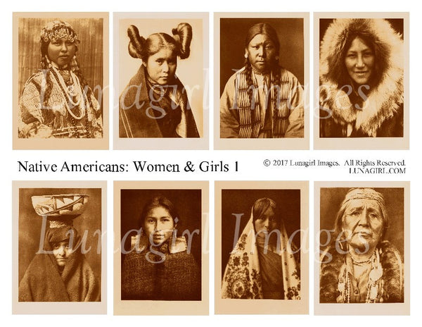 Native Americans: Women & Girls #1 Digital Collage Sheet - Lunagirl