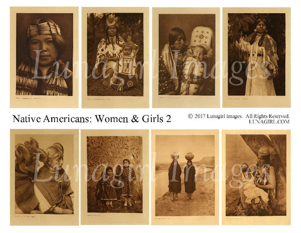 Native Americans: Women & Girls #2 Digital Collage Sheet - Lunagirl