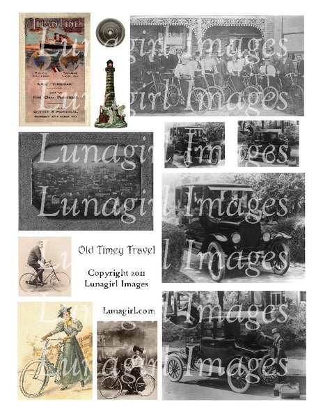 Old Timey Travel Digital Collage Sheet - Lunagirl