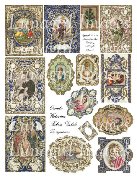 Ornate Victorian Fabric Labels Digital Collage Sheet - Lunagirl