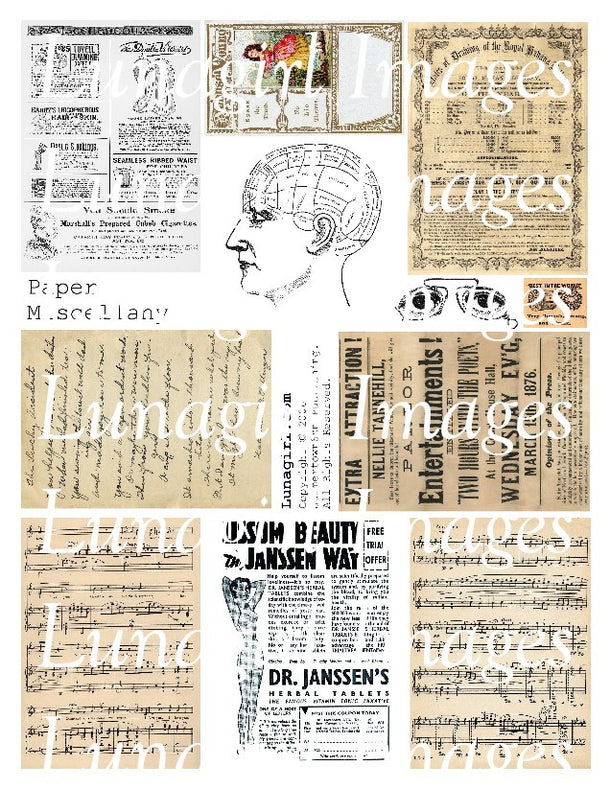 Digital Collage Sheets: Text Paper Ephemera Maps