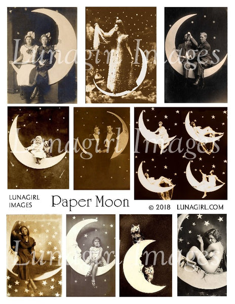 Paper Moon Digital Collage Sheet