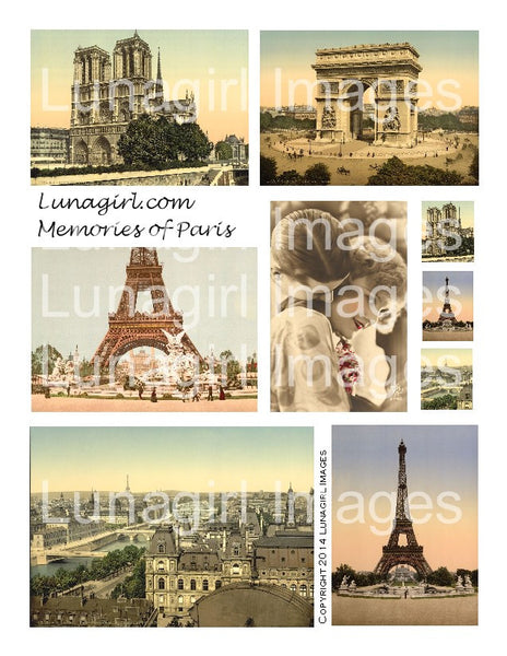 Memories of Paris Digital Collage Sheet - Lunagirl