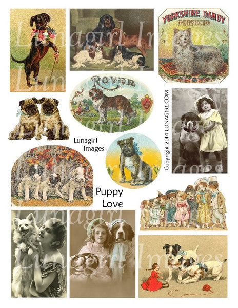 Puppy Love Digital Collage Sheet - Lunagirl