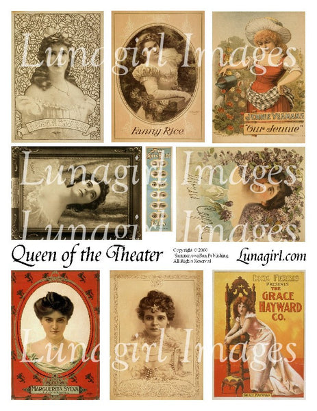 Queen of the Theater Digital Collage Sheet - Lunagirl