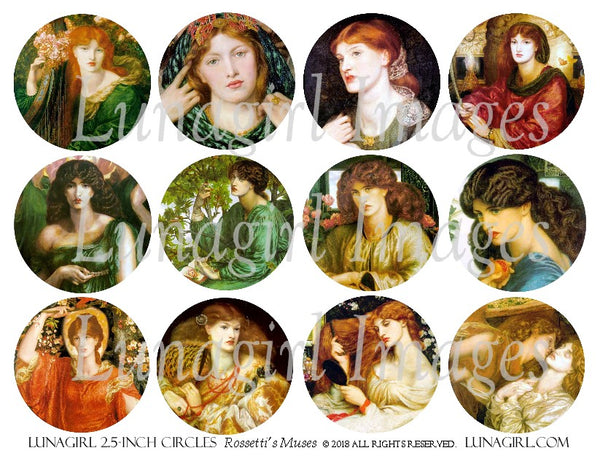 "Rossetti's Muses PreRaphaelite Women 2.5"" Circles Digital Collage Sheet"